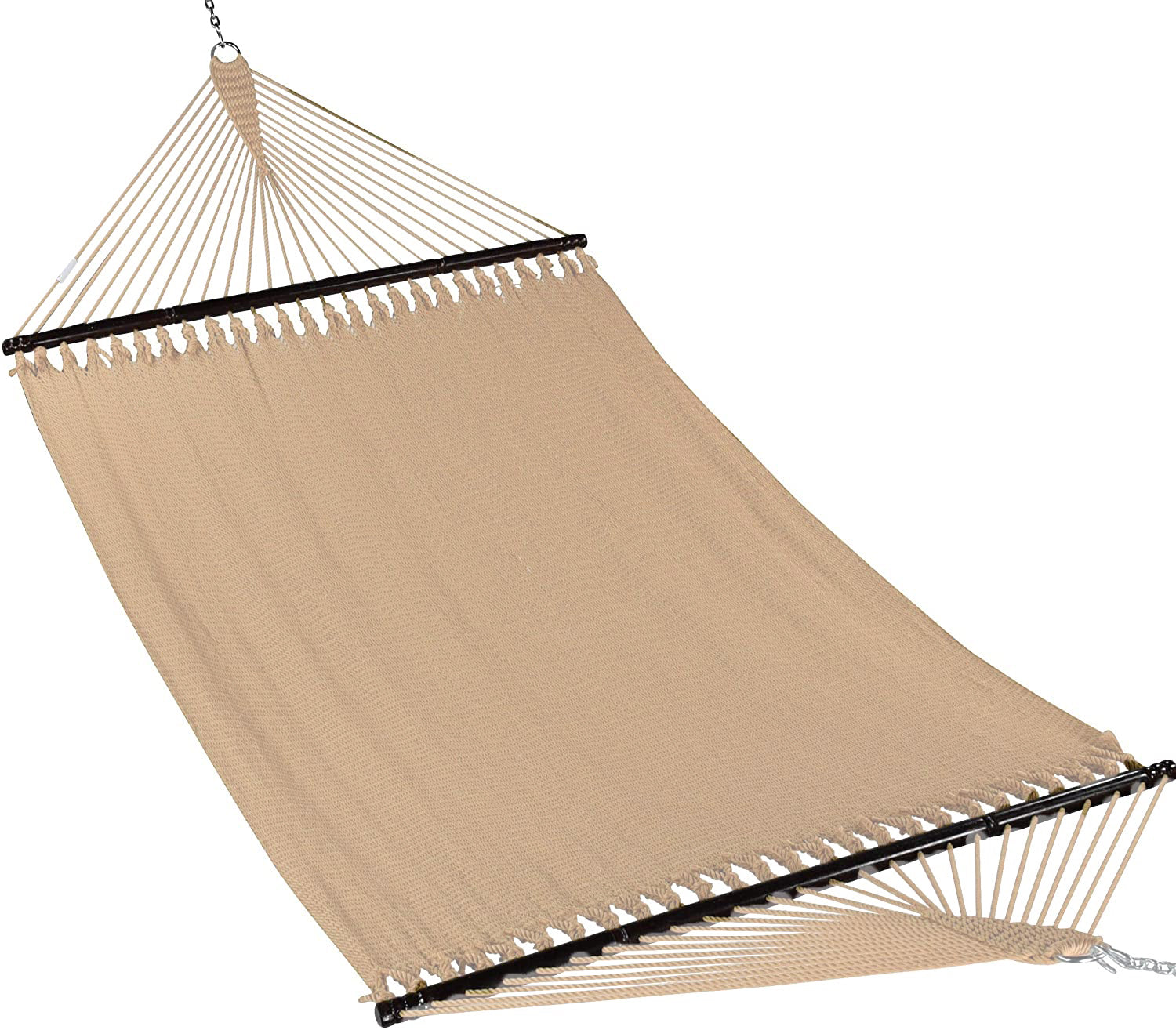 JUNELILY Polyester Rope Hammock, Double Wide Two Person with Spreader Bars - For Outdoor Patio, Yard, Porch