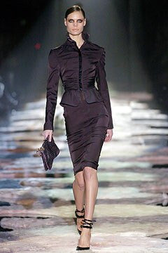 Iconic Tom Ford for Gucci - Eggplant Ruched Pencil Skirt - IT 40