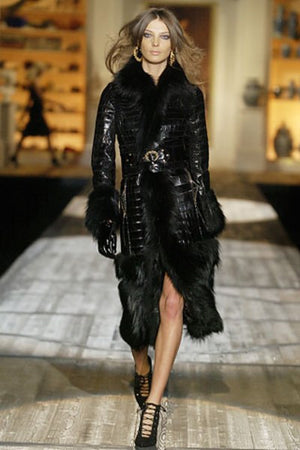 Roberto Cavalli - As Seen on 2005 Roberto Cavalli Runway Collection - Black Python Coat with Fur - IT 40