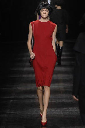 Lanvin - Editorial, As Seen on Runway - Short Sleeve Red Wool Dress - FR 38