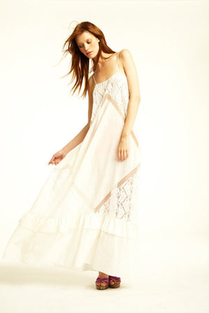 "BCBG Maxazaria Runway - ""Keylene"" Long White Spaghetti Strap Maxi Dress - M"