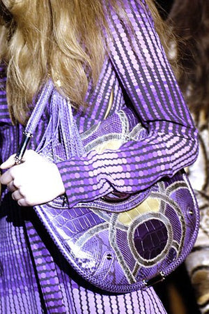 Iconic Tom Ford for Gucci - Editorial, As Seen on Fall 2006 Runway Collection - Long Sleeve Purple Dot Dress - IT 42