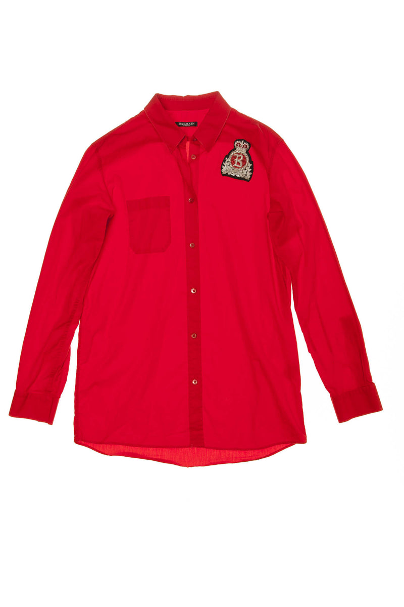 Balmain - Red Button Down Blouse