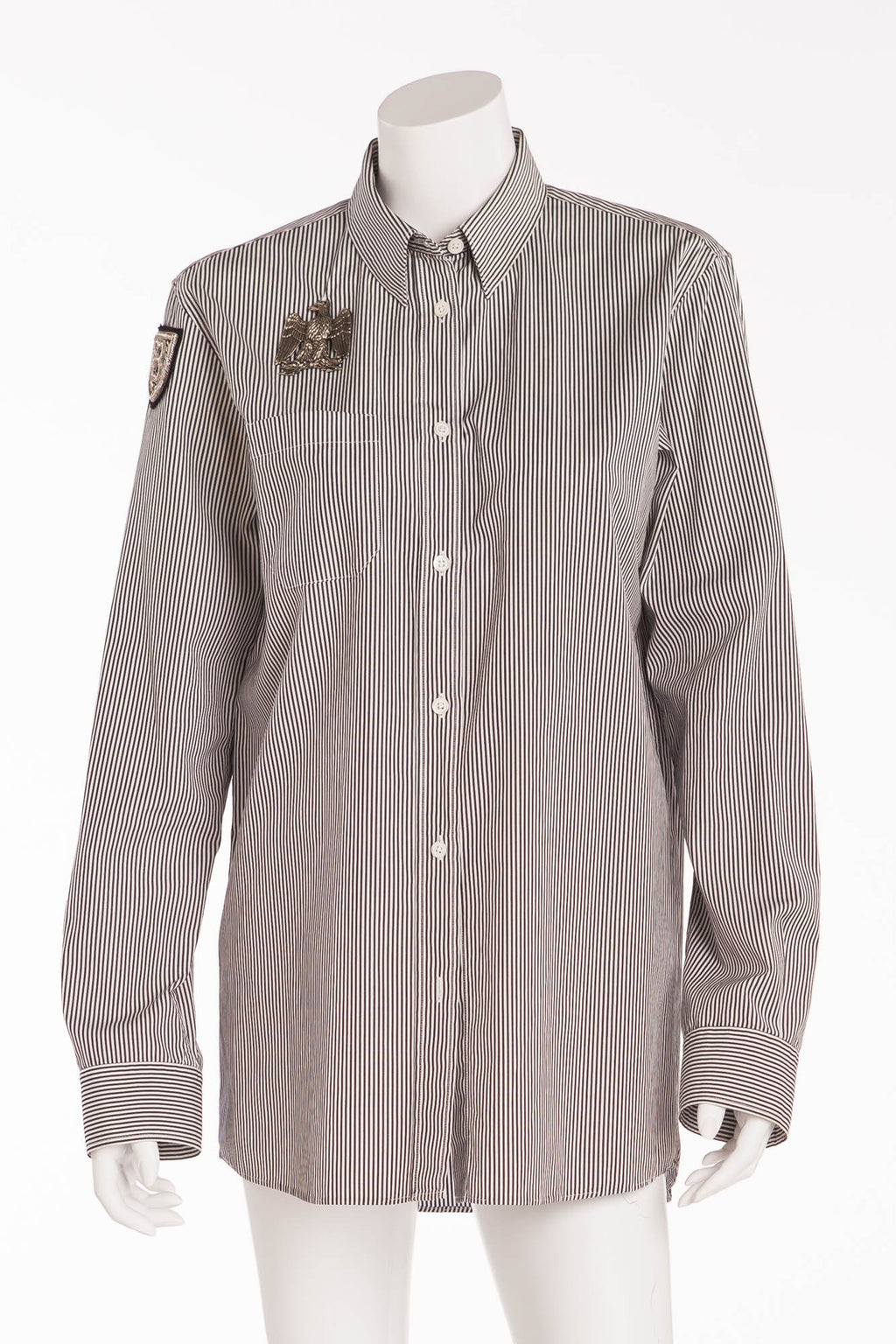 Balmain - Gray Stripe Blouse with eagle - FR 40