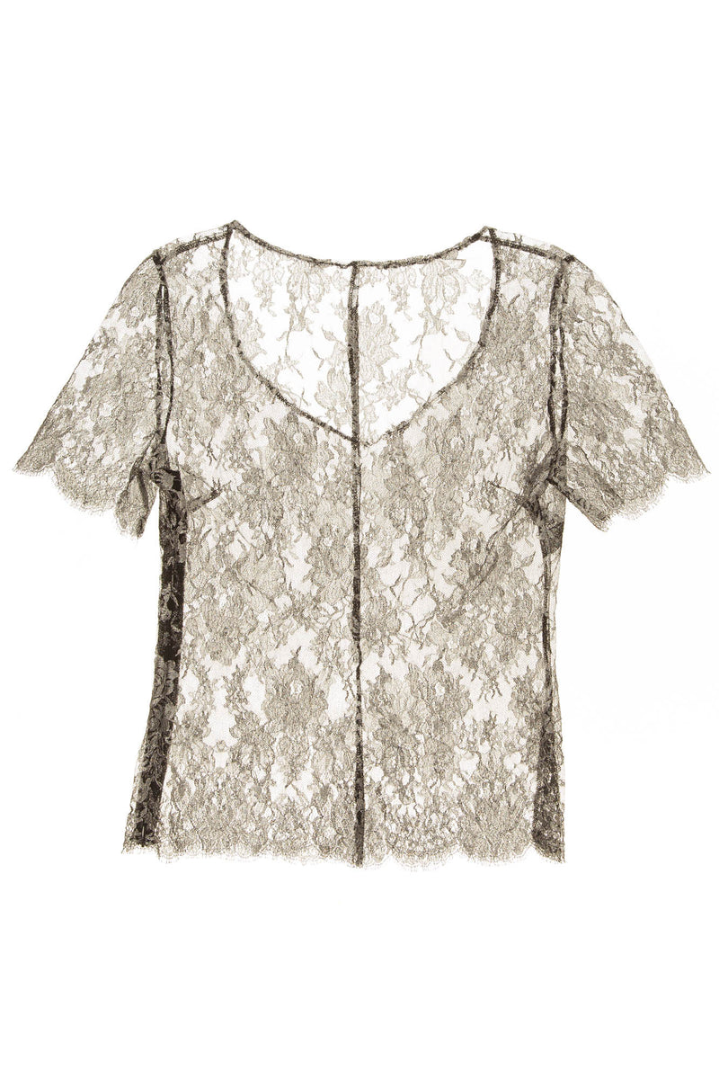 Ungaro - Black and silver lace blouse - FR 38