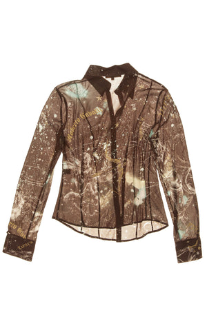 Robert Cavalli - Chocolate Brown and Aqua Constellation Blouse - L