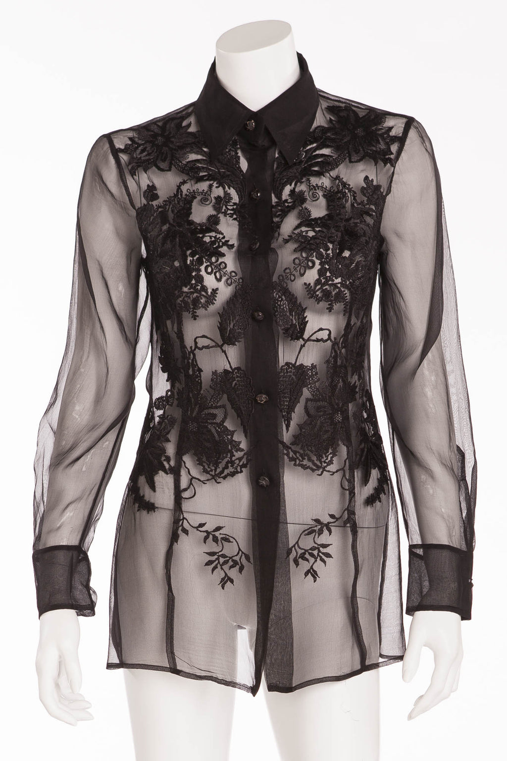 Gianfranco Ferre - Black Sheer Button Up Blouse - IT 40