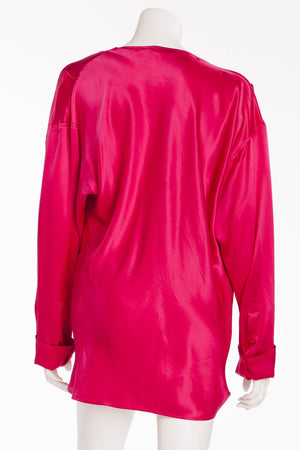 Balmain - Faux Wrap Silk Fuschia Blouse - FR 40