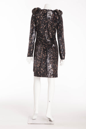 Roberto Cavalli - Black and Brown Dress with Heavily Beaded Shoulders - IT 42