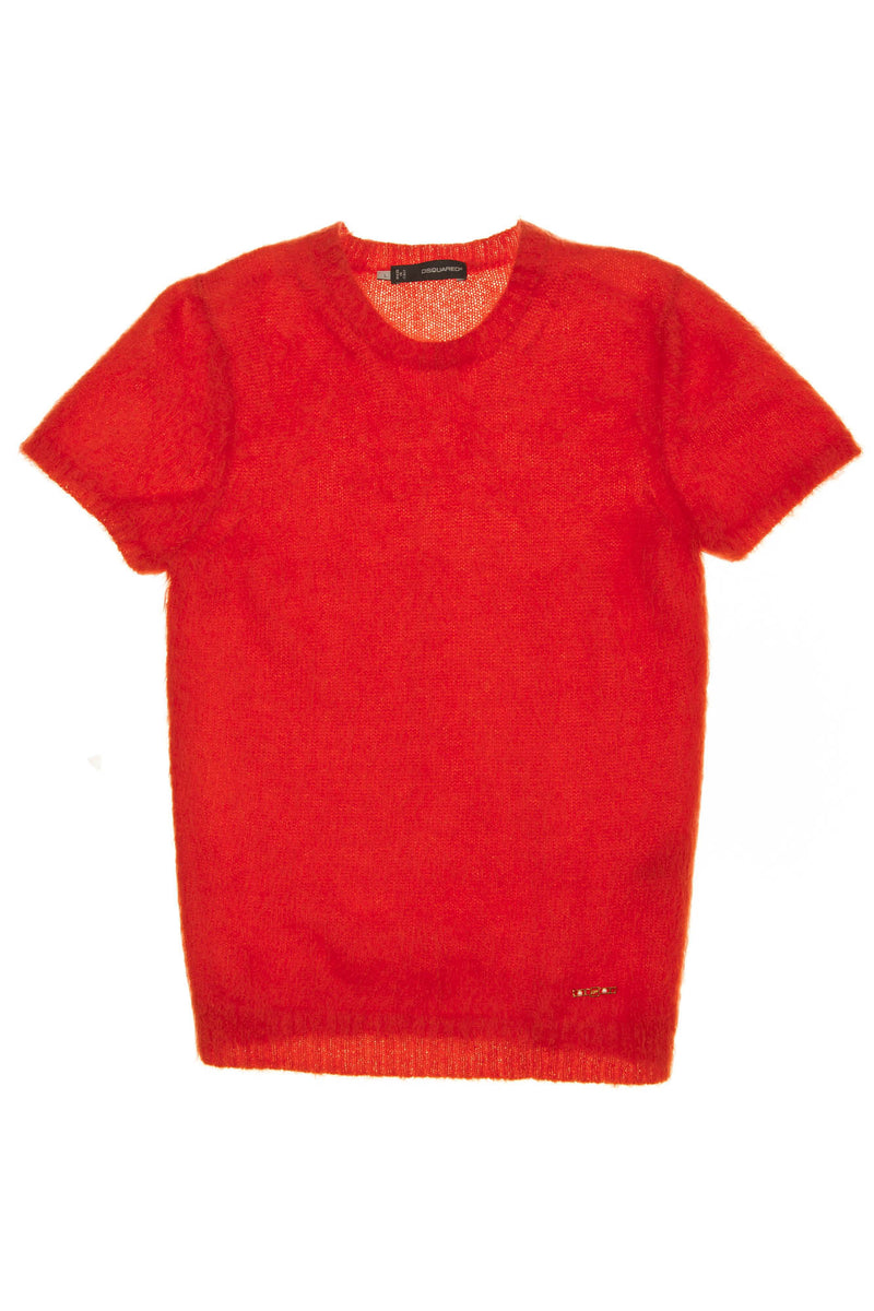 Dsquared2 - As Seen on the 2012 Fall Runway Collection, Look 8 - New Red Short Sleeve Mohair Top - L