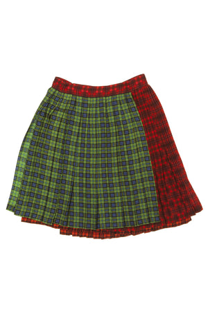 Gianni Versace Couture - Tartan Pleated Wool Blend Green and Red Plaid Skirt - IT 42