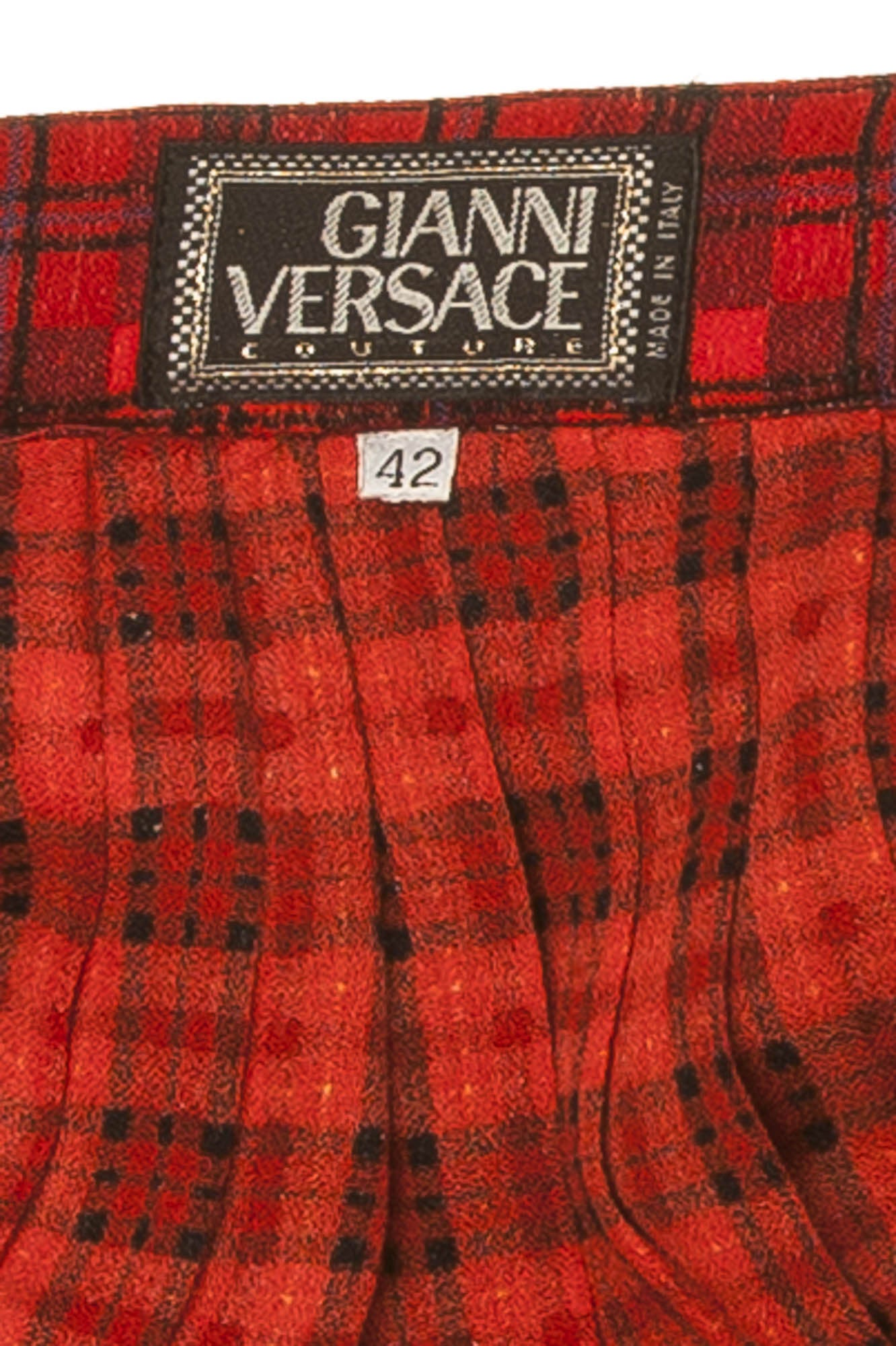 c023b3af4d Gianni Versace Couture - Tartan Pleated Wool Blend Green and Red Plaid Skirt  - IT 42