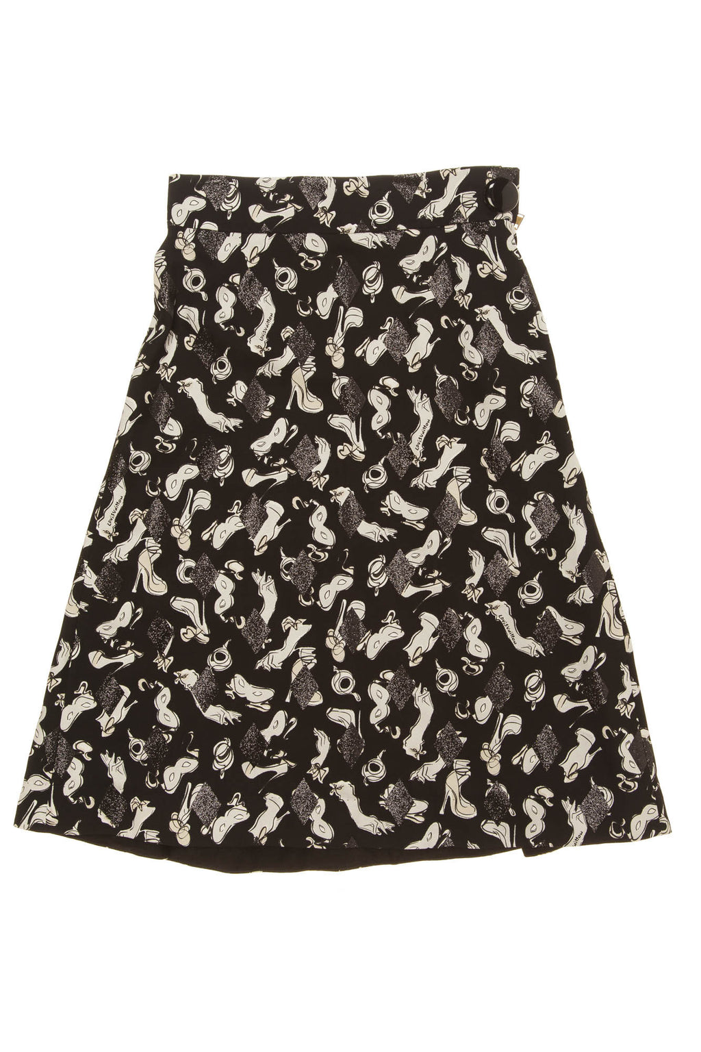 Louis Vuitton - White and Black Print Skirt - FR 40