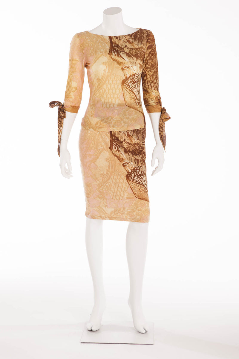 Roberto Cavalli - 2PC 3/4 Sleeve Cream and Brown Print Top & Skirt - S