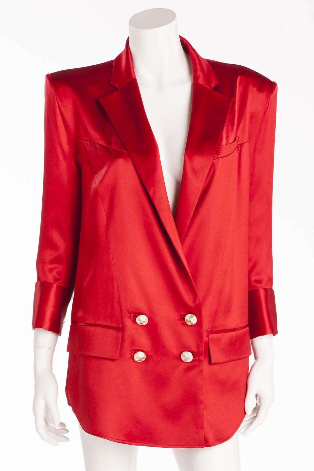 Balmain - New with Tags Red Silk Blazer with Gold Buttons - FR 40