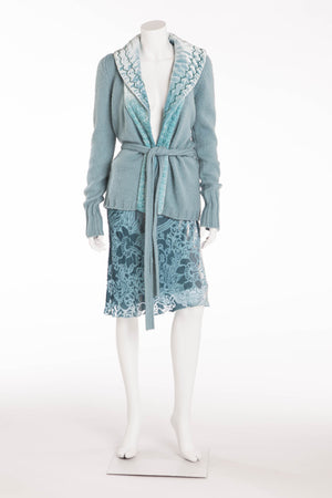 Blumarine - 2PC Aqua Knit Sweater with Belt and Sequin Skirt - IT 40