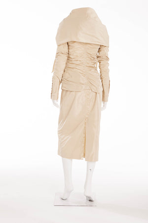 Jean Paul Gaultier - As Seen on 2006 Runway Collection - 2PC Creme Blazer and Skirt - IT 44