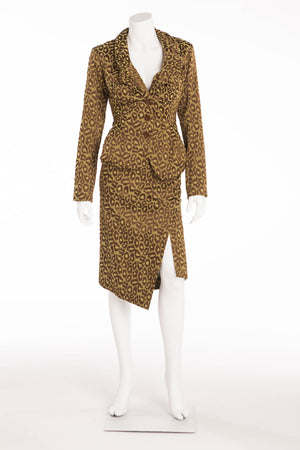Vivienne Westwood - 2PC Green and Brown Leopard Print Blazer and Skirt Suit - US6/UK10