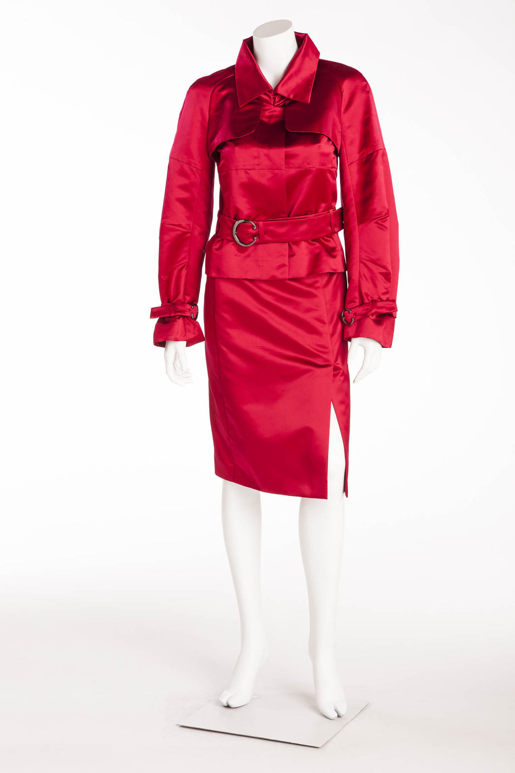 Celine - 2PC Red Satin Blazer with Belt and Skirt - FR 38