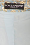 Dolce & Gabbana - 3PC Blue and Gold Short Sleeve Button Up Top with Embellished Neckline, Pants and Purse - IT 42