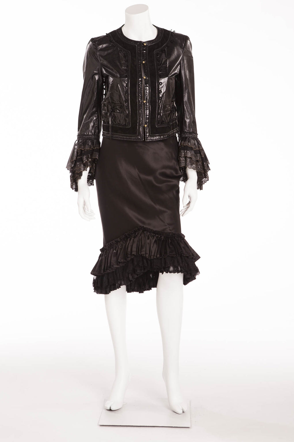 Roberto Cavalli - 2PC Black Lace Jacket and Skirt with Ruffles - IT 40