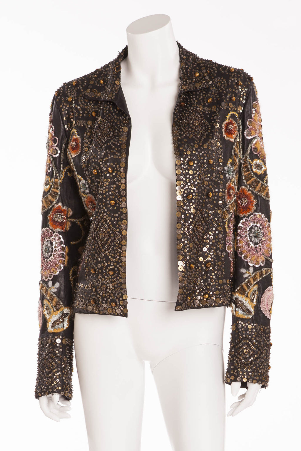 Oscar De La Renta - Hand Sewn Embroidered Sequence, Beads, Metal, and Tiger Eye Stone Jacket - US 6
