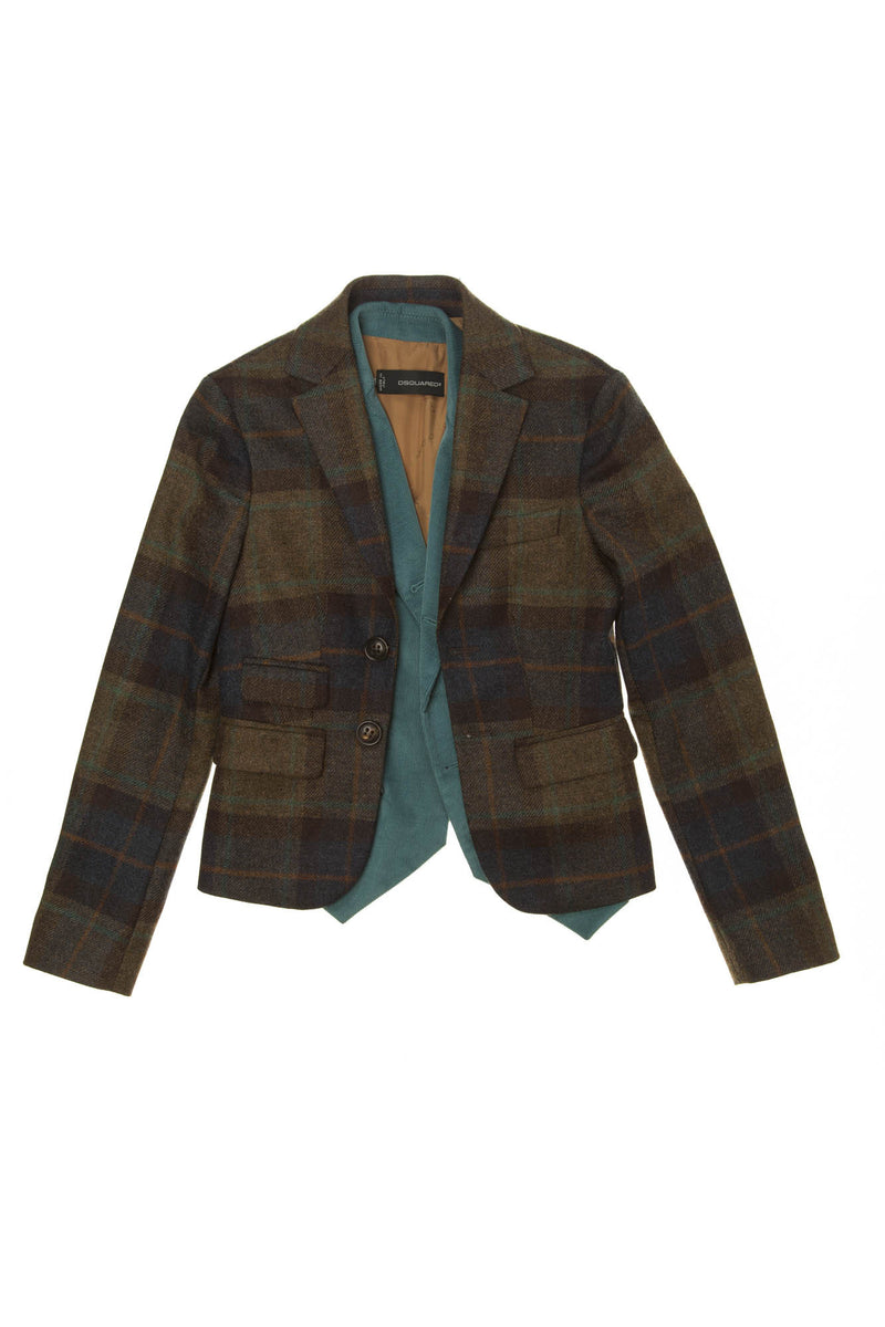 Dsquared2 - Brown Plaid Blazer with Teal Attached Velvet Vest - IT 44