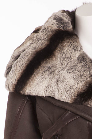 Gianfrano Ferre - Brown Suede Jacket with Fur Collar - IT 42