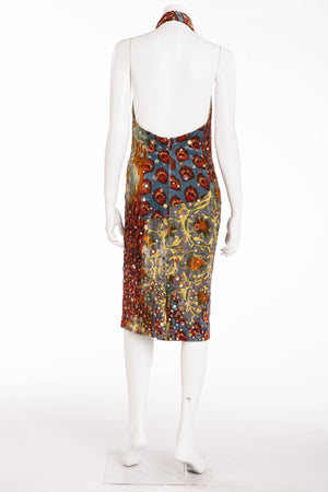Oscar De La Renta - Blue and Red Velvet Print Halter Dress - US 4