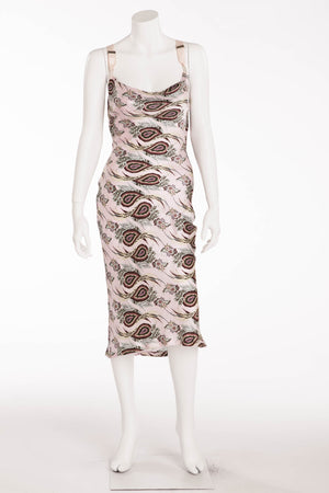 Original Alexander McQueen - Pink Peacock Print Halter Dress - IT 40