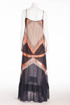 BCBG Maxazaria Runway - Navy, Coral, Gray and Beige Maxi Dress - M
