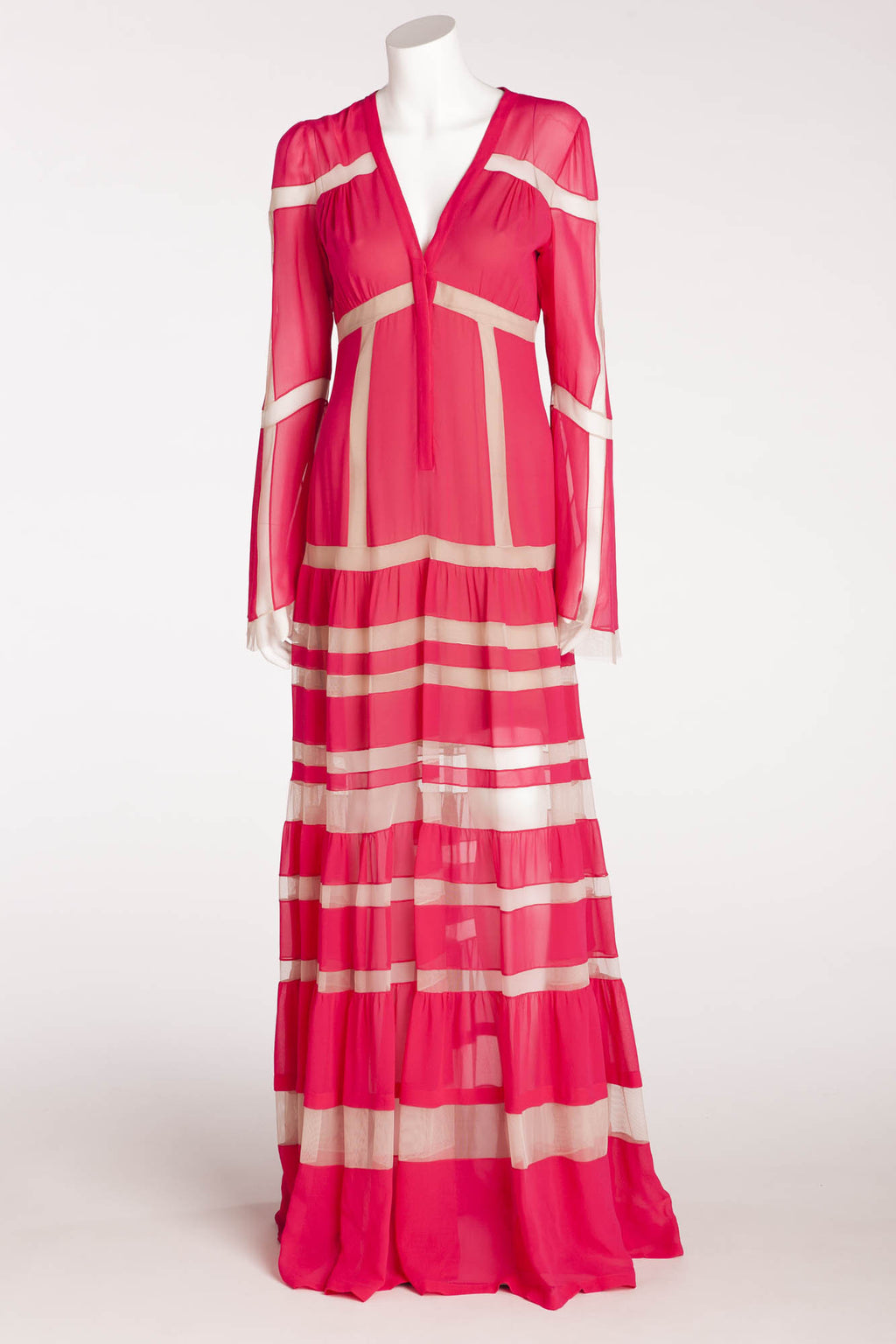 "BCBG Maxazria Runway - ""Sophy"" Fuschia and Nude Long Sleeve Dress - S"