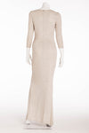 Halston - Vintage Light Gray 3/4 Sleeve Rhinestone Long Evening Gown - FR 38