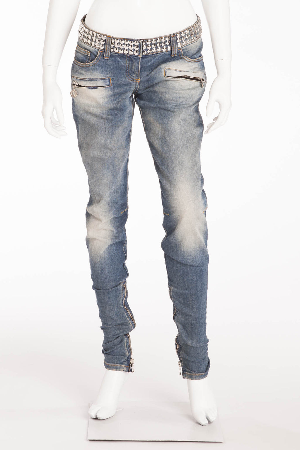 Balmain - New with Tags Light Blue Jeans with Studs - FR 40
