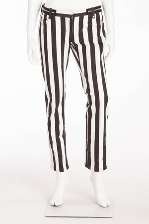 Balmain - As Seen on Fergie - Black and White Striped Pants - FR 40