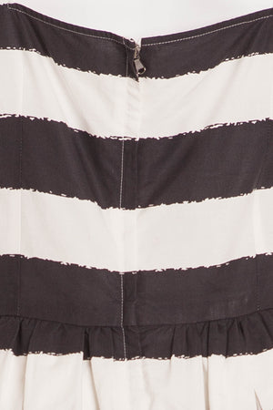 Dolce & Gabbana - Black and White Striped Cap Sleeve Dress - IT 42
