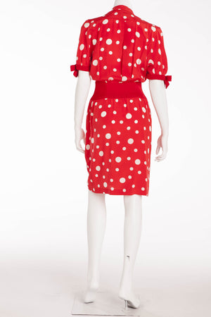 Thierry Mugler - Red and White Polka Dot Dress with Bows - FR 38