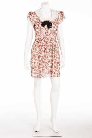 Saint Laurent - Short Sleeve Floral Dress with Black Sequin Bow - FR 40