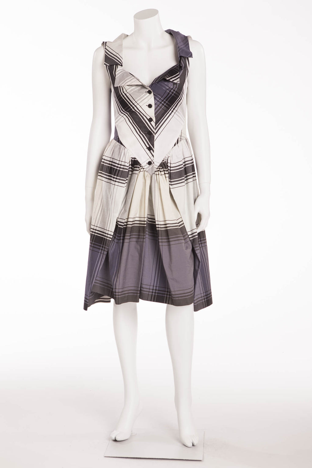 Vivienne Westwood - Sleeveless Gray, Cream and White Plaid Dress - IT 42