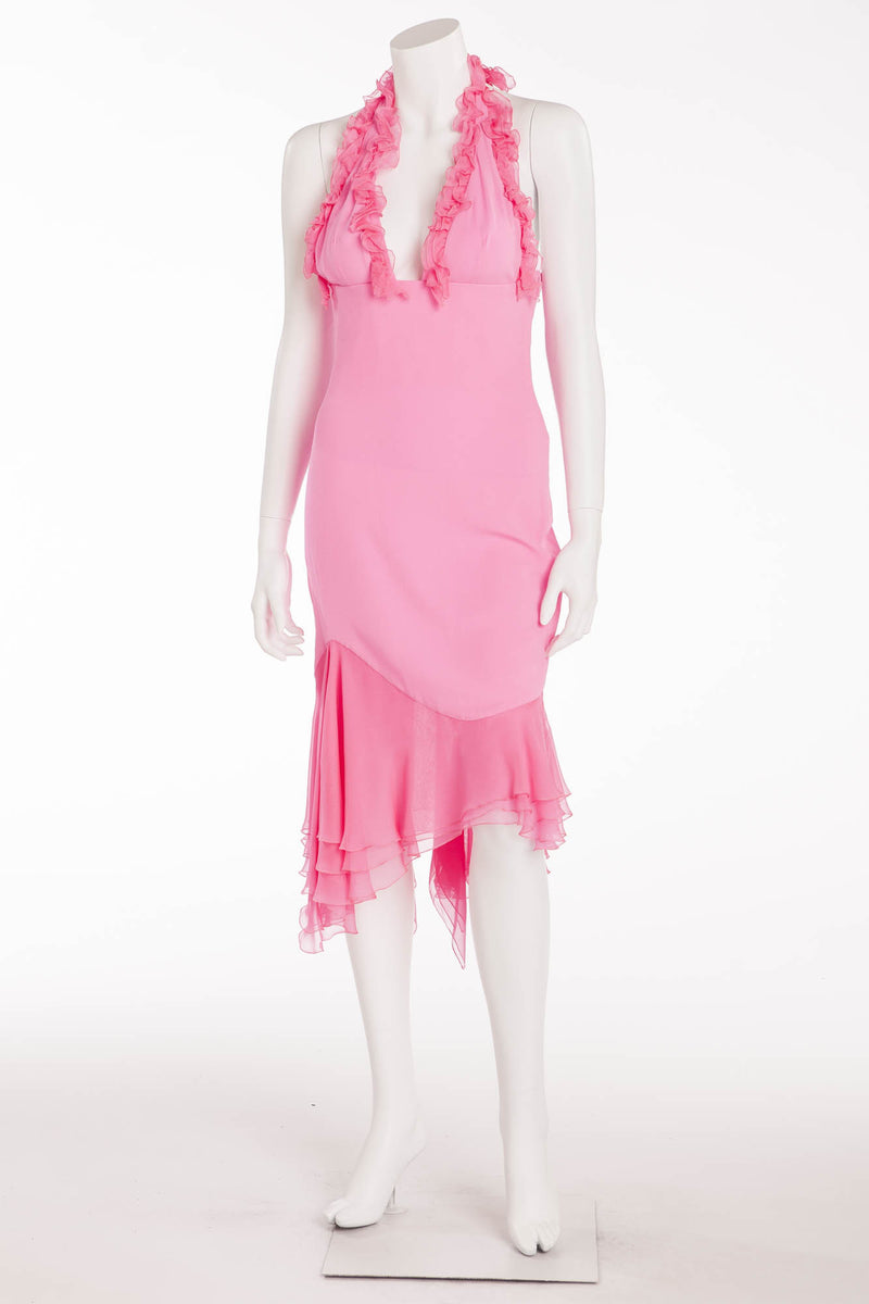 Versace -New  Hot Pink Halter Dress with Ruffles - IT 42