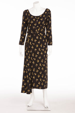 Prada - Long Sleeve Black and Yellow Floral Dress - IT 42