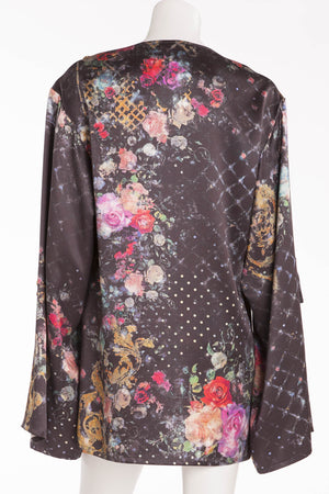 Balmain - Floral Long Sleeve Top/Mini Dress with Gold Buttons - FR 40
