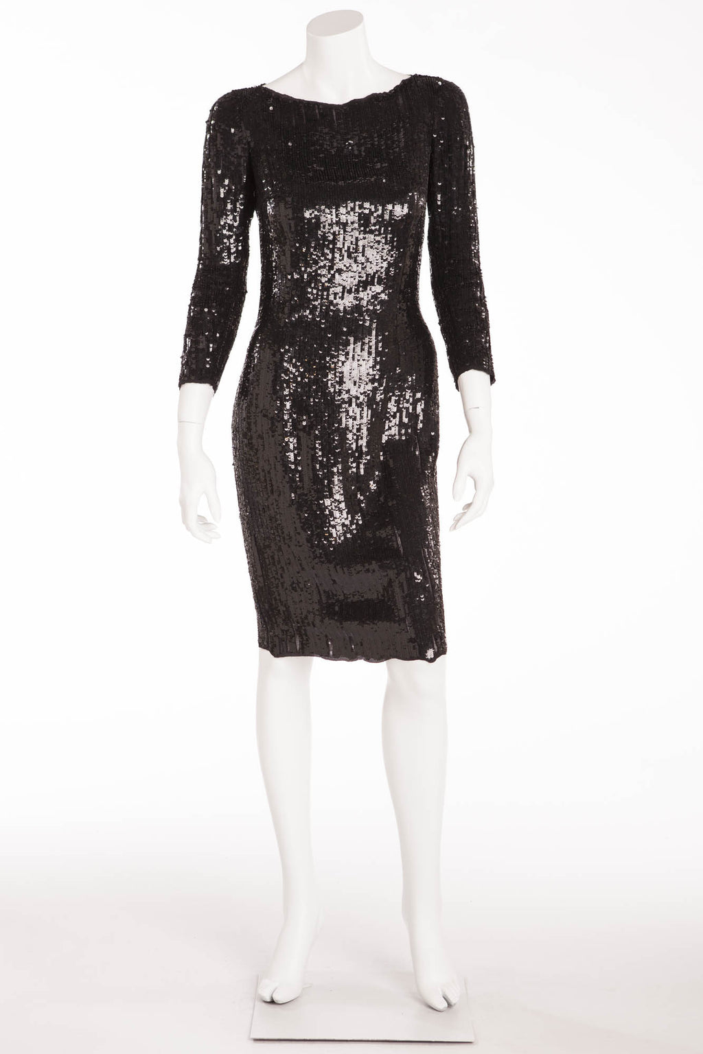 Balmain - New with Tags Black 3/4 Sleeve Sequin Dress - FR 40
