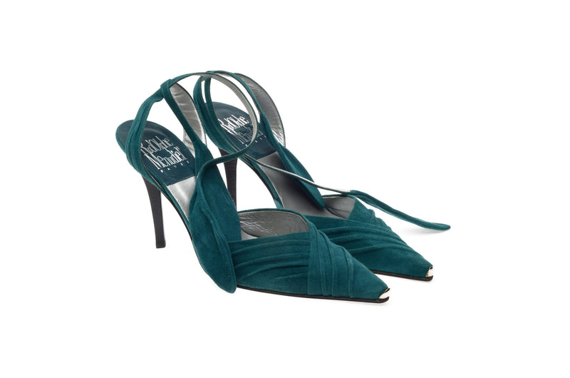 Menudier - Emerald Green Heels with Wrap Around Ankle Straps - IT 38 1/2