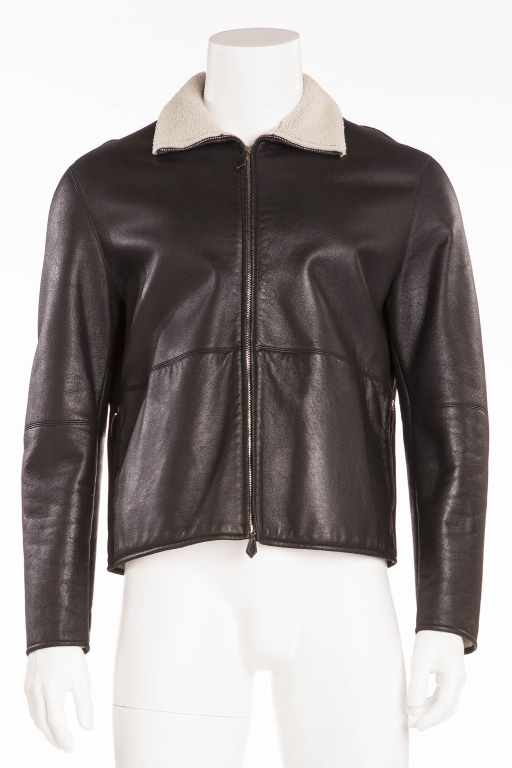 Hermes - Mens Black Zip Up Leather Jacket - FR 54