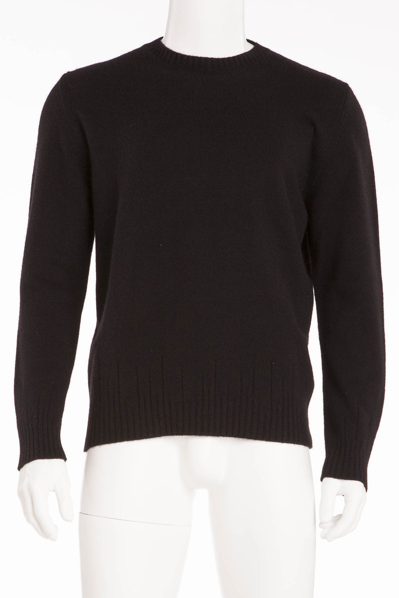 Authentic Hermes - Black Long Sleeve Scoop Neck Sweater - XL