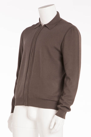 Hermes - Dark Olive Green Zip Up Sweater - XL