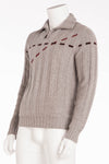 Authentic Hermes - Gray Zip Neck Sweater - XL