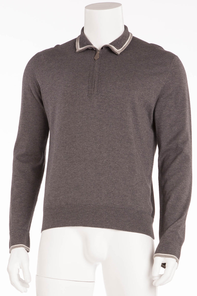 Authentic Hermes - Dark Grey Zip Neck Sweater - XL