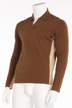 Hermes - Camel Brown Zip Neck Sweater - XL